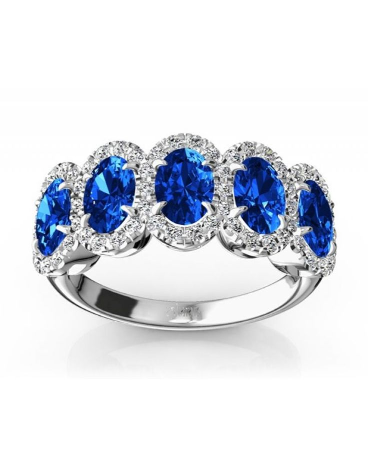 Top engagement rings with colored gemstones - with 5 blue gemstones