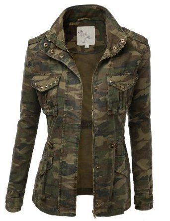 9Xis Women's Camo Military Cotton Drawstring Jacket with Studs-LOVE THIS WITH STUDS!