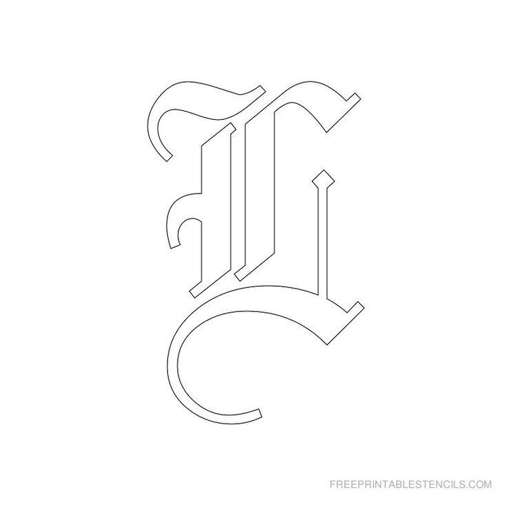 Printable Old English Alphabet Stencil L