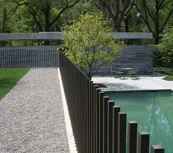 Modern open vertical only fencing - M Cohen and Sons