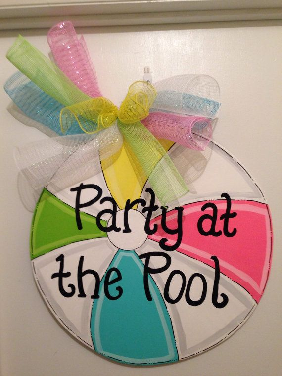 Summer door hangerBeach ball door by Furnitureflipalabama on Etsy