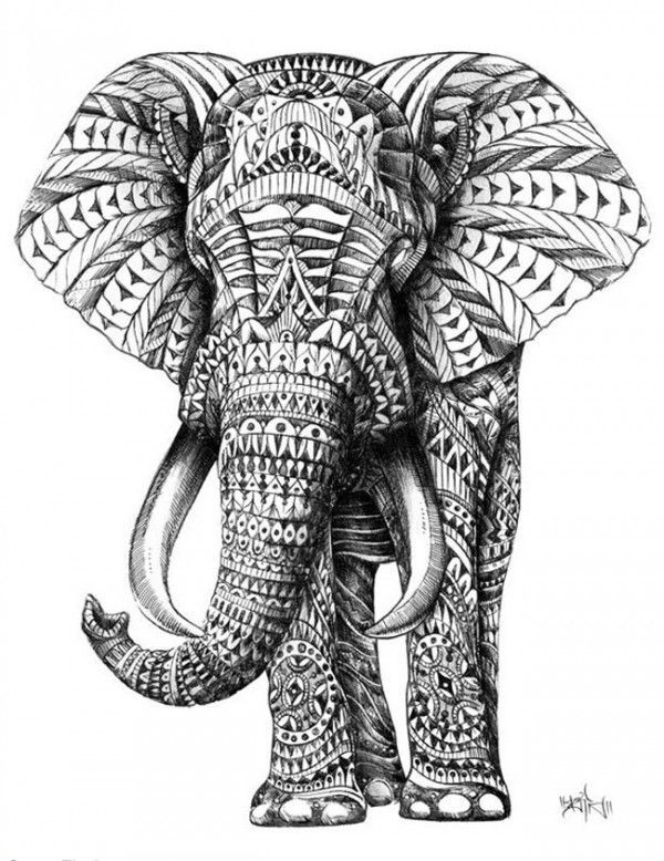 Elephants are my spirit animal. They are often perceived as scary and aggressive animals, but really they are very gentle and tranquil. I love this art piece and plan on getting it tattooed sometime soon.