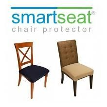 SmartSeat Chair Protectors are waterproof, stain resistant and machine washable covers for upholstered dining room and kitchen chairs. They protect like vinyl but are made from a soft, comfy fabric!