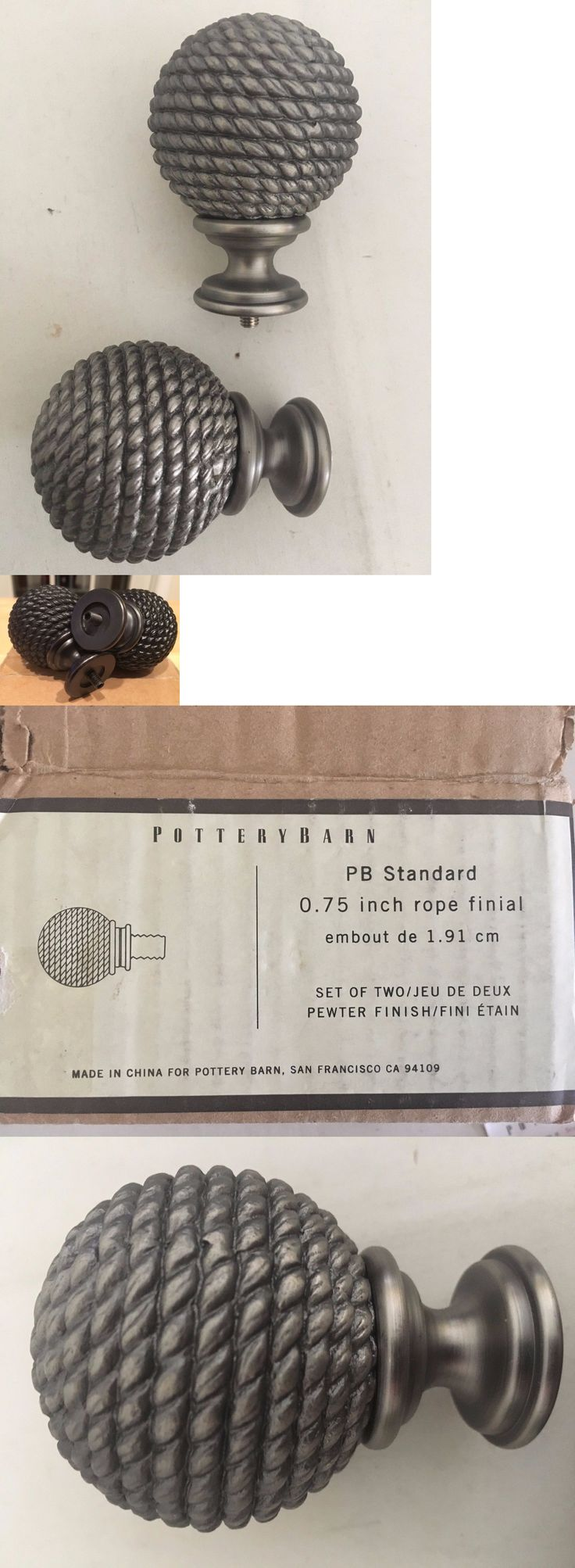 Curtain Rods And Finials 103459: Nib Pottery Barn Set 2 Rope Pewter Bronze  0.75 Curtain