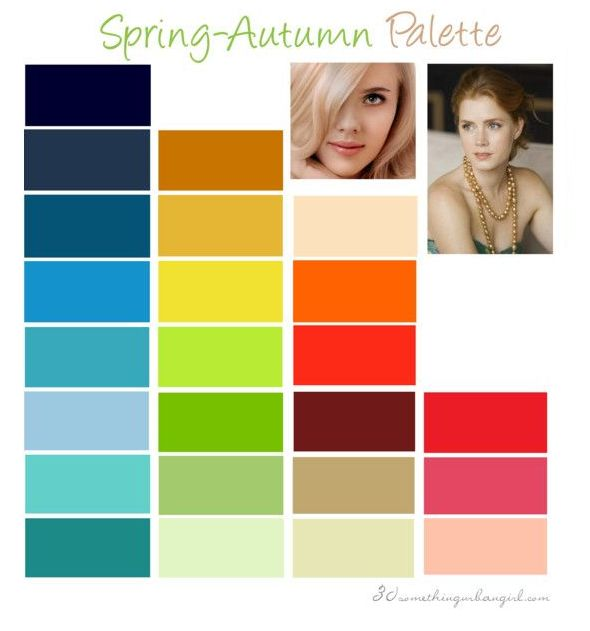 Warm Spring color palette: This seasonal color palette is also known as True Spring because you're flowing into Autumn which is another warm season. This creates a lovely and warm coloring. Your colors have to be warm and clear.