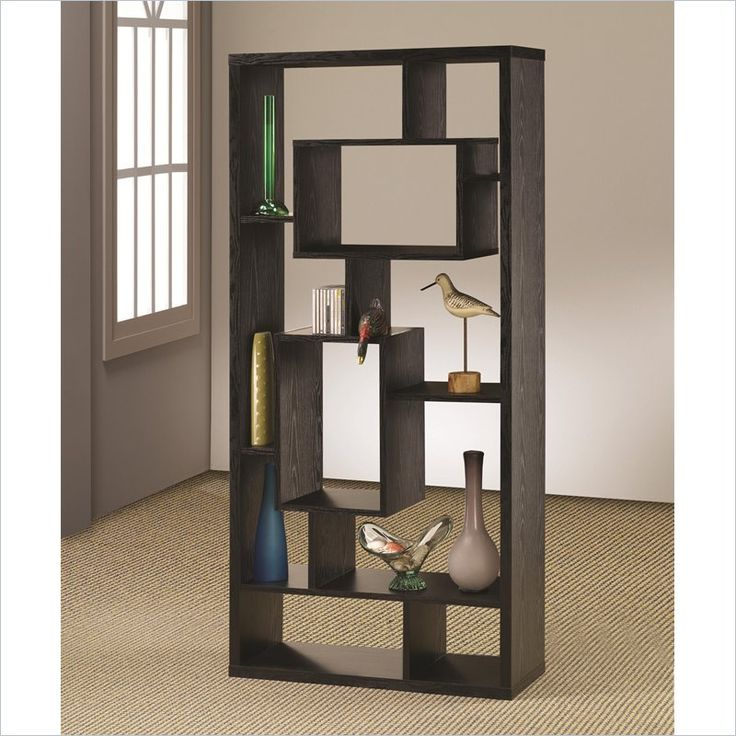 Coaster Contemporary Asymmetrical Cube Bookcase Black Finish Pictures
