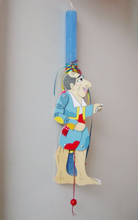 Greek Easter candle with Karagiozi puppet by ArktosCollectibles, $20.50