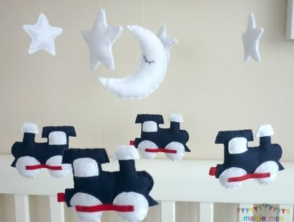 Dream Train - Baby Boy Mobile in Navy, Red and White