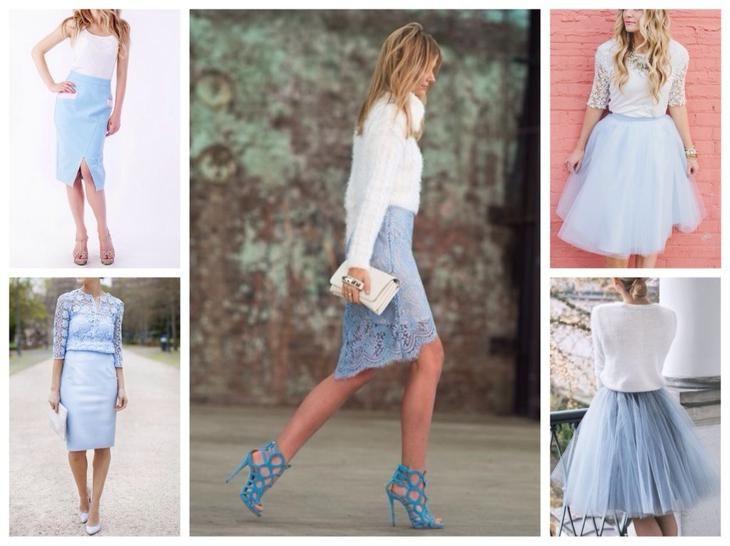 голубые юбки различных фасонов