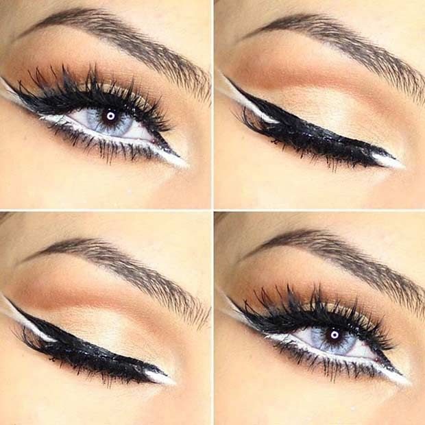 Black and White Eyeliner Makeup Look