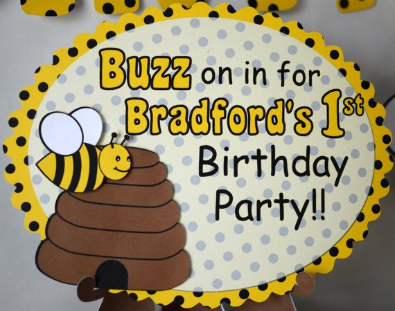 BUMBLE BEE Birthday Party Door SIGN Honey Bee By Bcpaperdesigns 1000 Bumble BirthdayBirthday IdeasBirthday