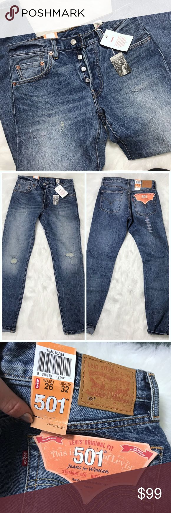 """NWT Levi 501 Selvedge Jeans 26 x 32 Beautiful new with tags Levi's 501 original fit """"mom jeans"""" in the wash """"light sky"""". Distressed selvedge denim from the white oak mill. I recommend sizing down for a more classic fit unless you're looking for boyfriend fit! This style was sold at Anthropologie and Free people. MSRP $158. Reasonable offers will be considered.   Please feel free to ask questions!  Bundle for 10% off, ships same or next day. Brand new item from a clean, cat friendly home. NO…"""