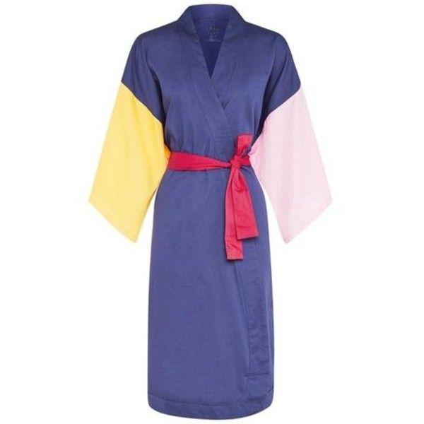 Colour Block Kimono Robe ($185) ❤ liked on Polyvore featuring intimates, robes, bath robes, kimono bathrobe, kimono dressing gown, robe kimono and wrap robe