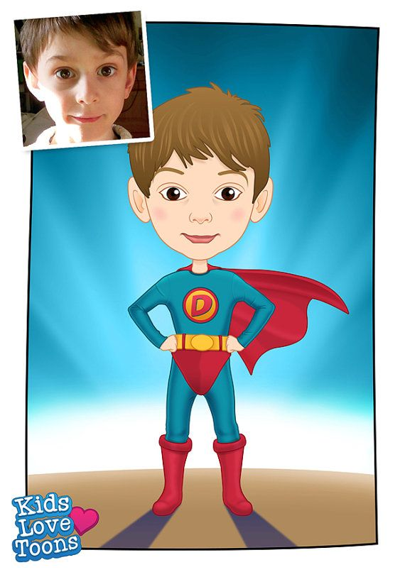 A custom made cartoon portrait of Daniel. He opted to be a SUPERHERO! It was a lot of fun drawing this little guy.