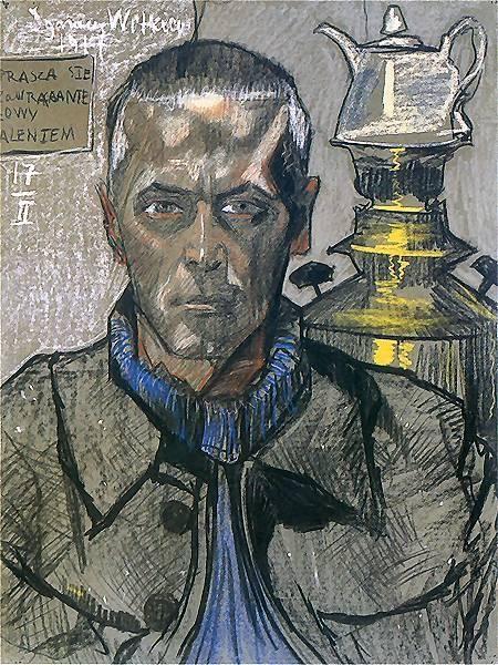 """Stanislaw Ignacy Witkiewicz - """"Self-Portrait with samovar"""" 1917"""