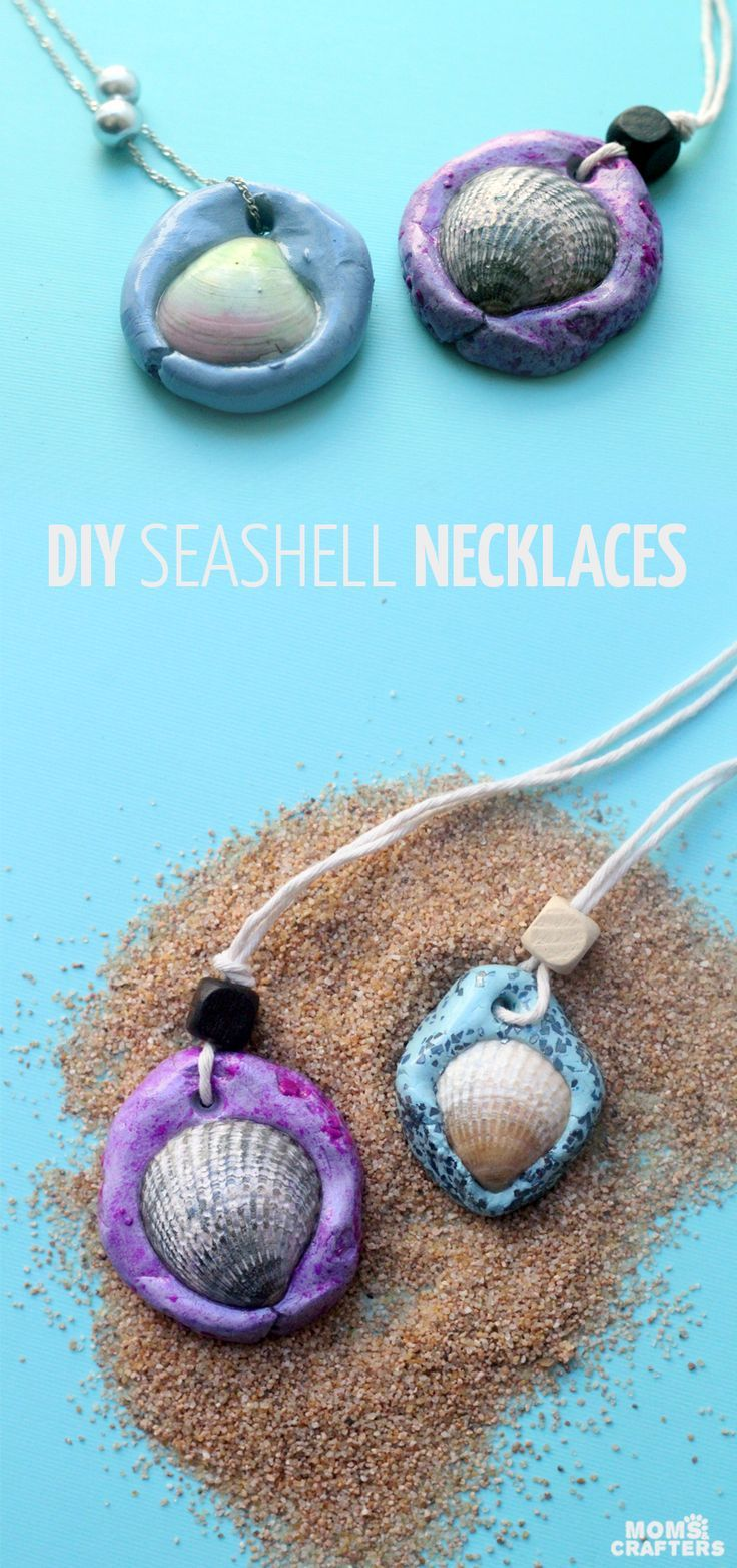 Make an easy DIY seashell necklace for your little mermaid - this easy jewelry making craft for kids is also a perfect summer camp activity for tweens and teens! It's made from air dry clay and a super cool glaze, with instructions for adding different te