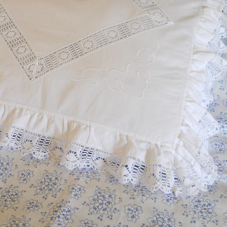antique french pillow case, pillow sham, vintage pillow case, vintage bedding, white lace pillow cover