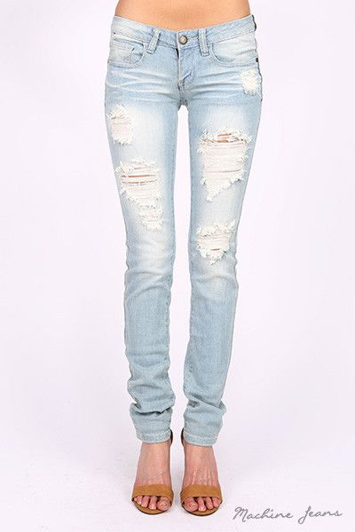 "Low rise skinny leg jeans with distressing. Traditional 5 pocket and zip fly zipper closure. 97% Cotton / 3% Spandex USA Juniors Waist Measurement (Inches) Inseam Measurement (Inches) 0 25"" 29 1/2"" 1"