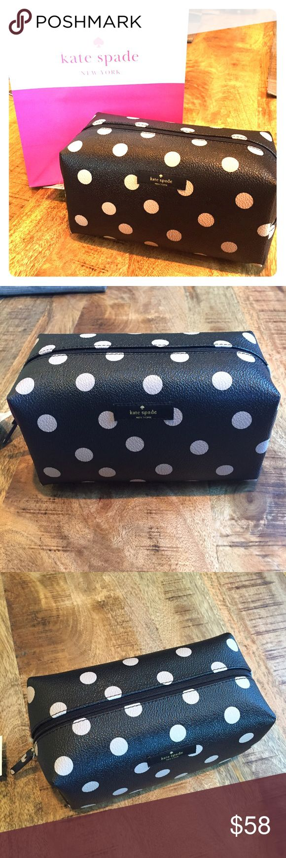 NWT Kate Spade travel cosmetic bag New with tag! Kate Spade classic design. Never go out of fashion. Large storage space. Fits traveling size shampoo, conditioner, make up.. Etc kate spade Bags Travel Bags