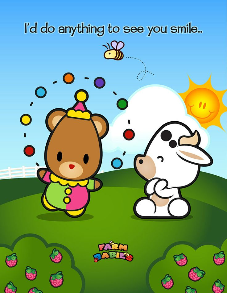 Farm Babies / #kawaii #cute #love #quotes #illustration #baby #farm #uplifting #cartoon #bear #clown #animals #cow