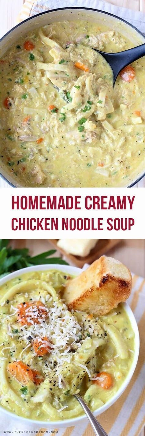 An Easy Homemade Creamy Chicken Noodle Soup made on the stove top using simple ingredients in about 90 minutes. This recipe uses a whole cooked chicken, as well as fresh veggies & herbs, all of which add a ton of extra flavor to the soup. It's creamy, thick & hearty--perfect for any time you're craving comfort food or need a hot meal to warm your belly. #Reames #HomemadeGoodness #ad   Real Food Recipes   Dinner  