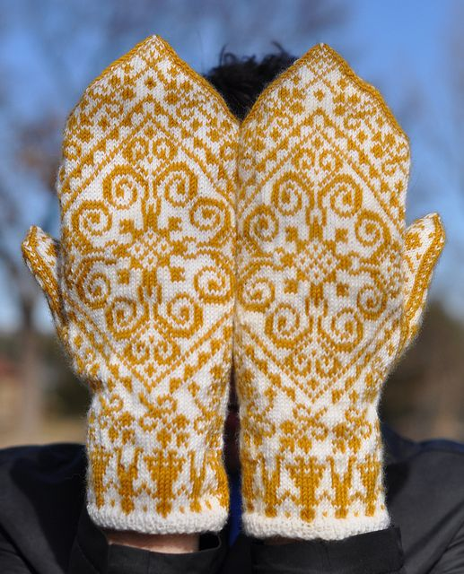another look at the gold stranded mittens ... from the Selbustrikk Norwegian booklet ... knitting by The Little Red Hen