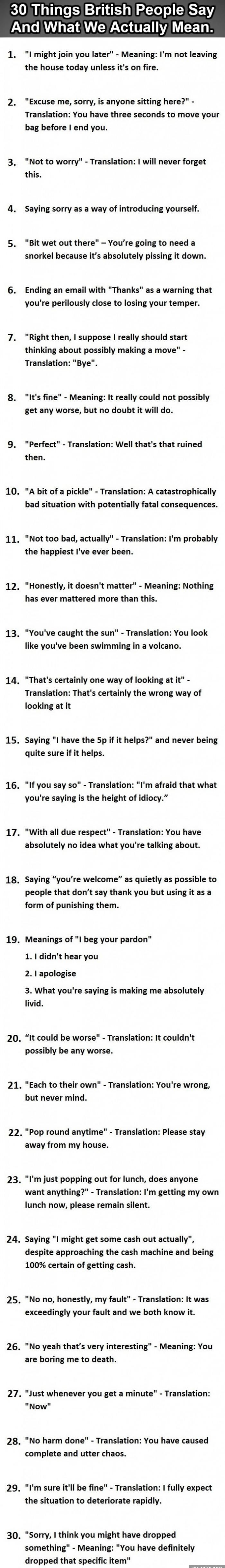 Things British people say and what they actually mean.