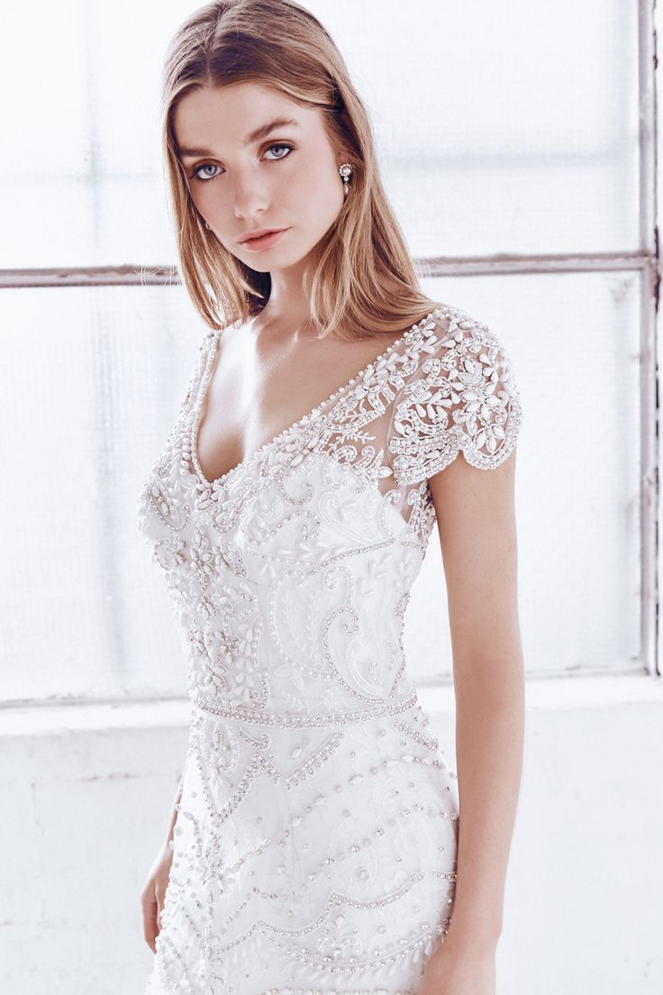 Anna Campbell Ceremony Collection | Anna Embellished Wedding Dress | Romantic vintage bridal gown | Hand-beaded | Bohemian bride | Capped sleeves | Low-back| | V-back bridal dress | Botanical floral lace beading