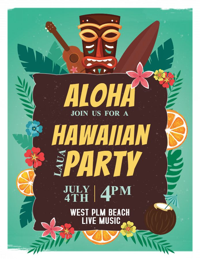Luau Party Hawaii Invitation Flyer Poster Template