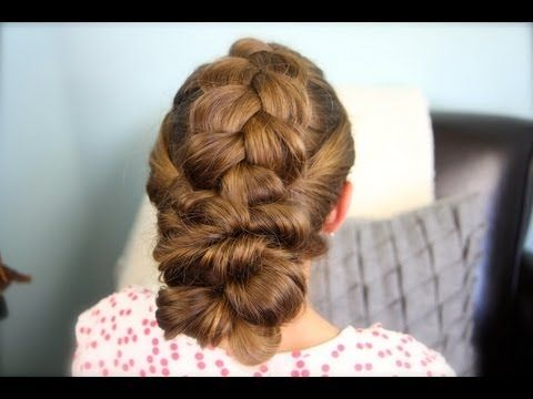 Pancake Braid with Double Twists - a cute #Updo in less than 7 minutes! #hairstyles