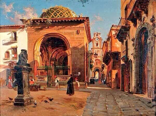 This is #Sorrento 's historical town center in a 19th century painting by Teodoro Duclere