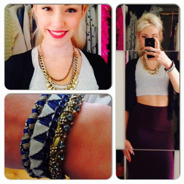 Lipstick: Mac Necklace: Topshop Cropped top: Topshop Cardigan: Primark Bracelet: Nocturne Skirt: Topshop