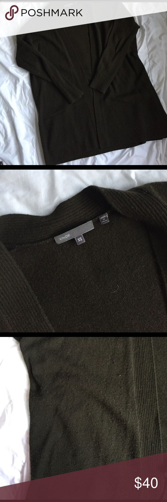 vince olive green cardigan size XS pretty straight forward vince olive green cardigan size XS. there is pilling on it, reflected in pics and price. Vince Sweaters Cardigans