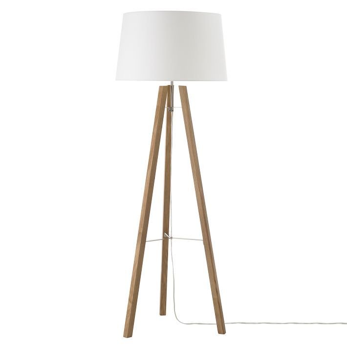 Tripod wood floor lamp in natural white from west elm