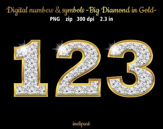 Digital diamonds in gold numbers and symbols clip by inclipart