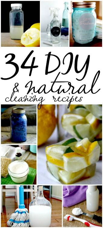 34 Natural Cleaning Recipes - Ready to start making your own homemade cleaning supplies? These 34 homemade cleaning recipes are cheap to make, all natural and super easy to make!