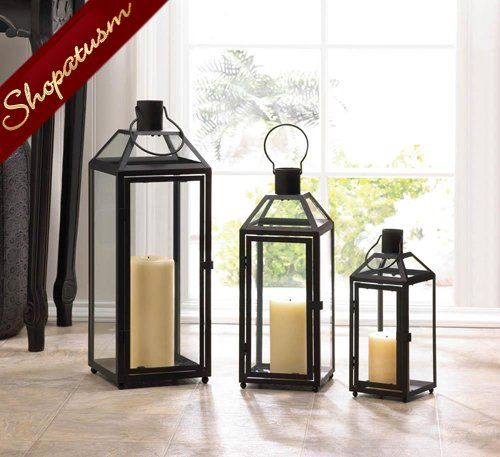 12 Classic Lanterns Flint Small Black Wedding Centerpieces