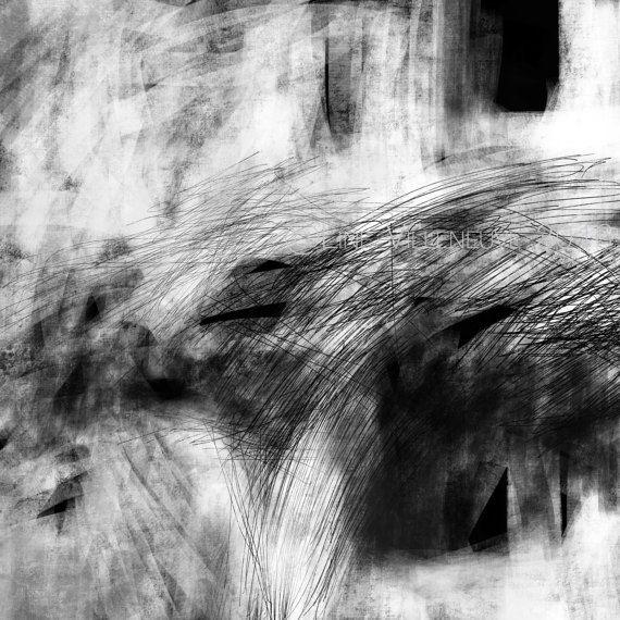 Dessin oeuvre sur papier noir blanc gris art abstrait