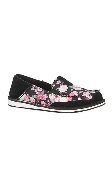 67d6fe7cc0f91b Ariat Women s Black Satin Floral Cruiser Shoe