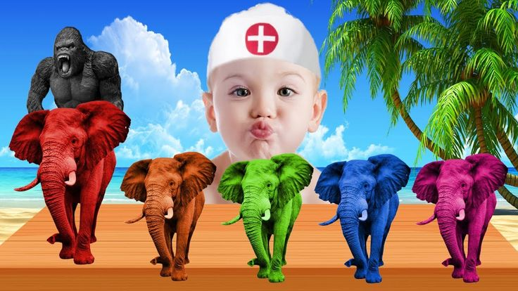 Learn Colors with Elephant and King Kong for Children, Toddlers - Bad Ba...