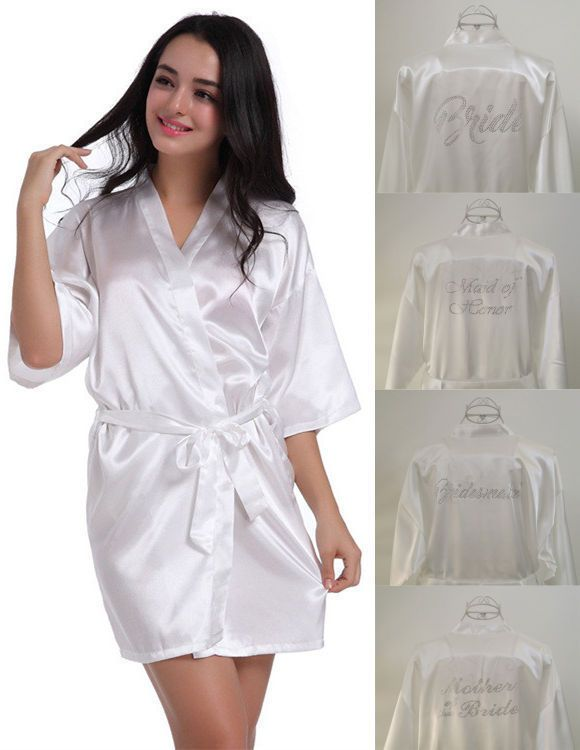 Silk Satin Lace Robe Beaded Bride Bridesmaid Dress Wedding Gown Kimono  Bathrobe Robe Beaded Bride 331daaf9e
