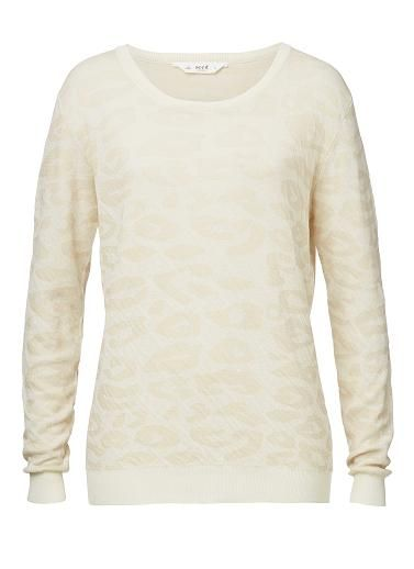 100% Cotton Ocelot Knitted Sweater. Comfortable fitting silhouette. Features an all over ocelot print with long sleeves. Available in Eggshell as seen below.