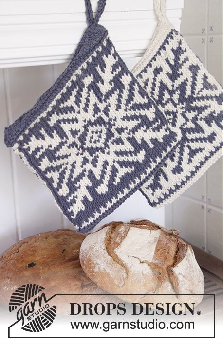 "Stay Cool - DROPS Christmas: Knitted DROPS pot holders with snow crystal in Nordic pattern in ""Paris"". - Free pattern by DROPS Design"