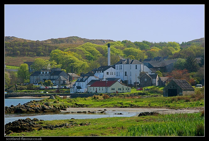 Photo of the Isle of Jura distillery in Craighouse, the only distillery on the island.