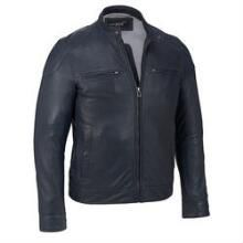 Black Rivet Leather Moto Jacket w/ Shoulder Patches