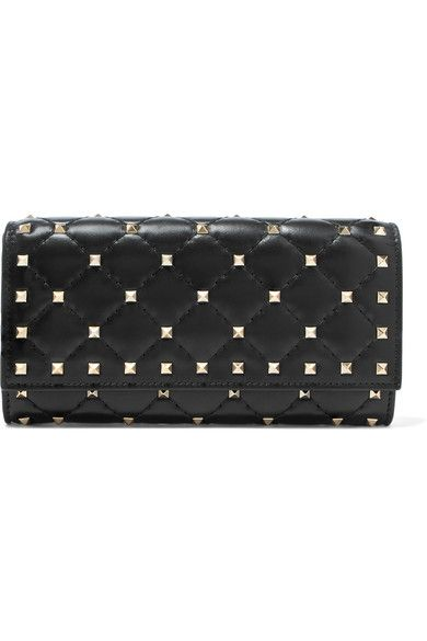 Valentino - The Rockstud Spike Quilted Leather Wallet - Black
