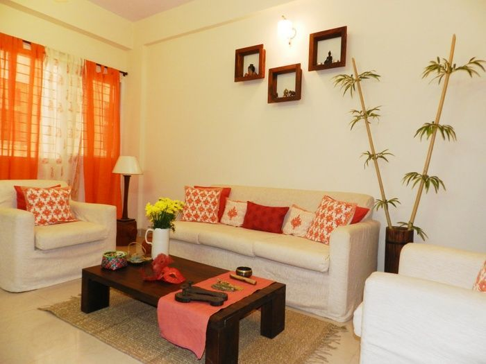 Adding colourful elements like curtains, cushions, rugs, plants on a white base gives contemporary Look.