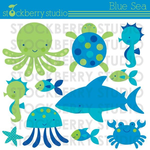 Blue Sea Personal and Commercial Use Vector Clipart Set - Instant Download. $5.00, via Etsy.