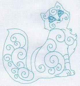 Kurly Kitten embroidery patterns by Clipartoon (set of 10 different cats) - inspiration for me to draw a fox.