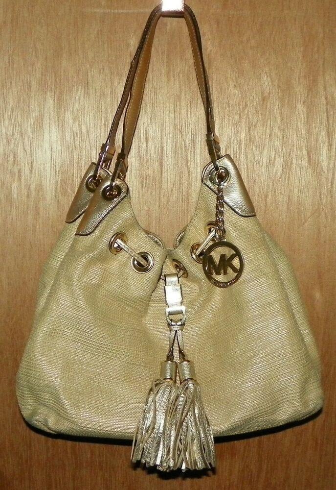961d41d651cb Michael Kors Grommet Hobo Handbag Gold Fabric Leather Trim Tassels Hardware   MichaelKors
